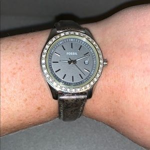 Brown leather band fossil watch